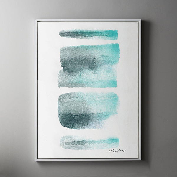 Daydream in Aqua 1 Framed Painted Canvas-Canvas-Inhabit