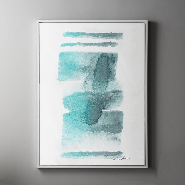 Daydream in Aqua 2 Framed Painted Canvas-Canvas-Inhabit