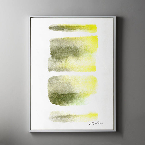 Daydream in Moss & Yellow 1 Framed Painted Canvas-Canvas-Inhabit