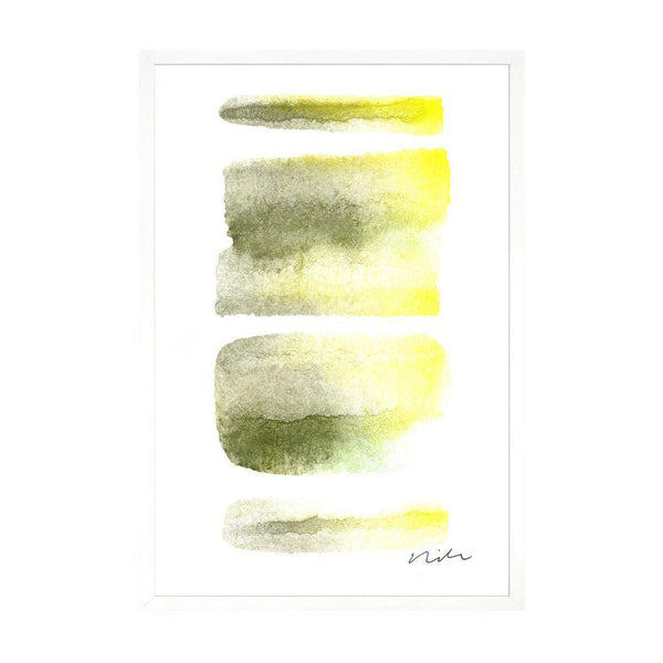 Daydream in Moss & Yellow 1 Framed Gallery Wrapped Canvas-Canvas-Inhabit