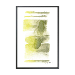 Daydream in Moss & Yellow 2 Framed Art Canvas-Canvas-Inhabit