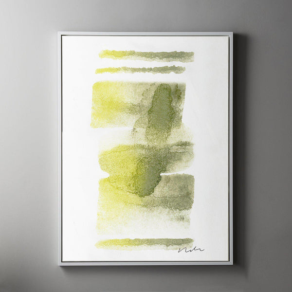 Daydream in Moss & Yellow 2 Framed Painted Canvas-Canvas-Inhabit