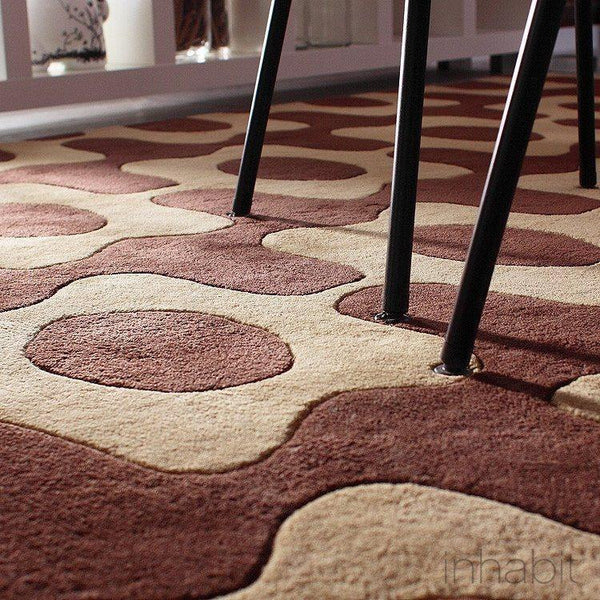 Laugh in Chocolate & Amber Hand-Tufted Wool Area Rug - - Wool Area Rugs - Inhabitliving.com - Inhabit - 1