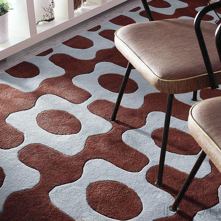 Laugh In Chocolate Cornflower Hand Tufted Wool Rug Modern Area