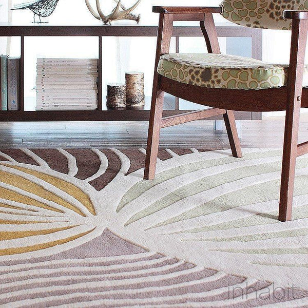 "Leaf in Natural & Apricot Hand-Tufted Wool Area Rug - 5 'x 7'6""- Wool Area Rugs - Inhabitliving.com - Inhabit - 1"