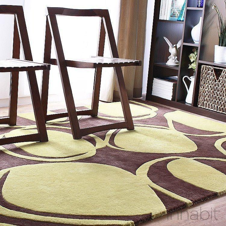 River Rock In Chocolate Kiwi Hand Tufted Wool Rug Modern Area