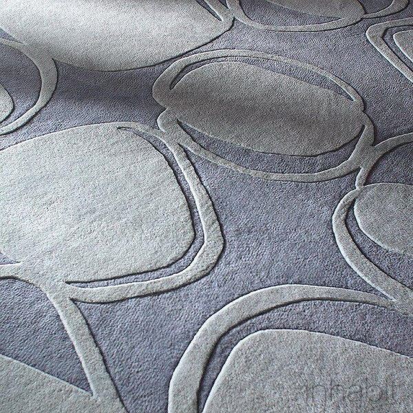 "River Rock in Soft Blue Hand-Tufted Wool Area Rug - 5 'x 7'6""- Wool Area Rugs - Inhabitliving.com - Inhabit - 1"