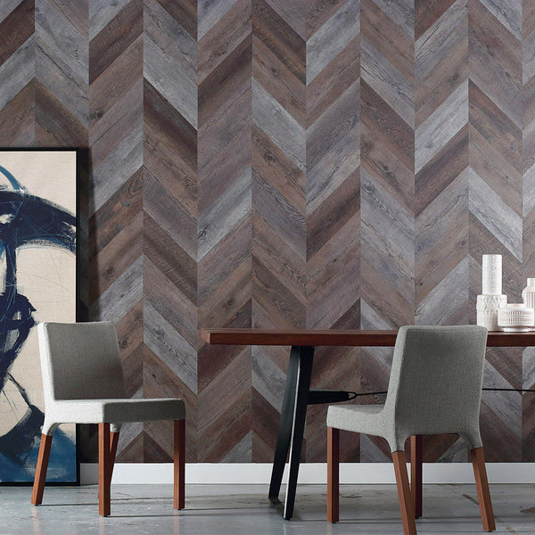 Herringbone Peel + Stick Wood Look Wall Variplanks-Variplank-Inhabit