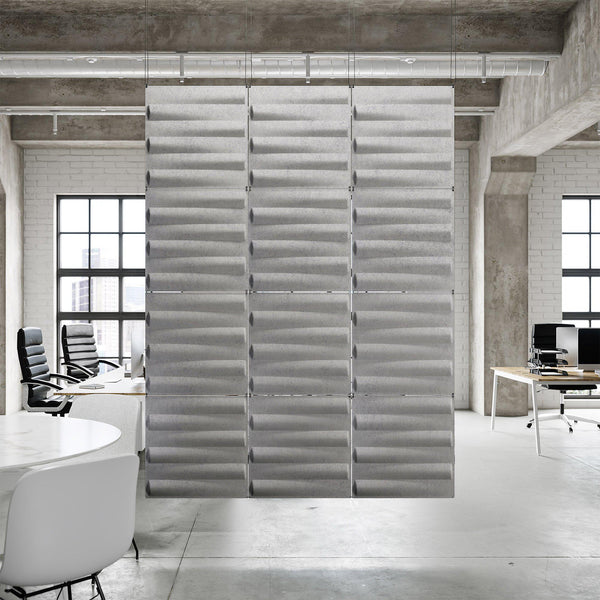 Acoustic Hanging Wall Panel | Room Divider - Seesaw 3D PET Felt Hanging Wall Flat System - 1 - Inhabit