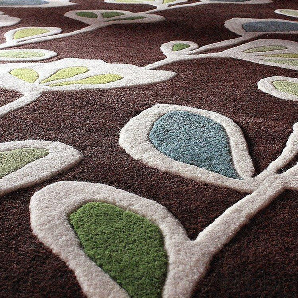 "Stencil in Chocolate Hand-Tufted Wool Area Rug - 7'9"" x 10'6""- Wool Area Rugs - Inhabitliving.com - Inhabit - 2"