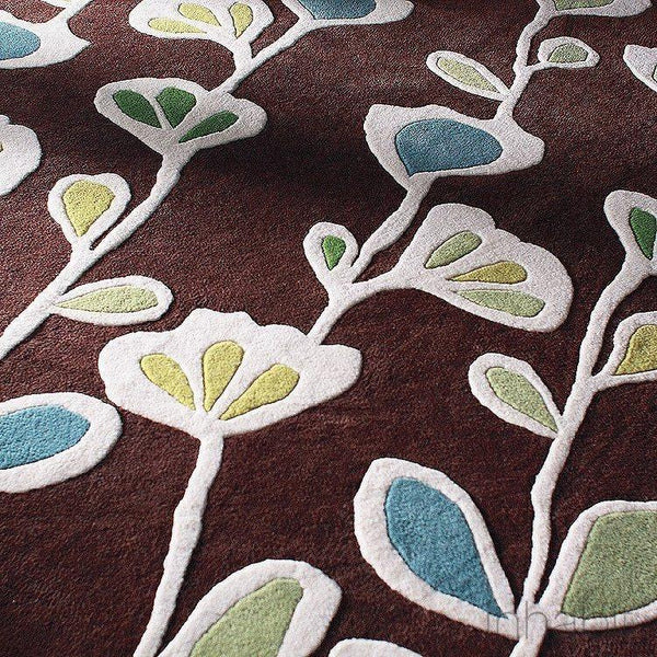 "Stencil in Chocolate Hand-Tufted Wool Area Rug - 5 'x 7'6""- Wool Area Rugs - Inhabitliving.com - Inhabit - 1"