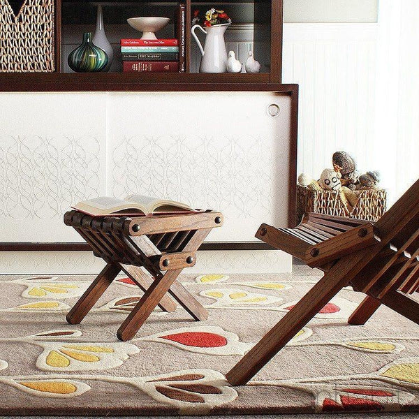 "Stencil in Natural & Scarlet Hand-Tufted Wool Area Rug - 7'9"" x 10'6""- Wool Area Rugs - Inhabitliving.com - Inhabit - 1"