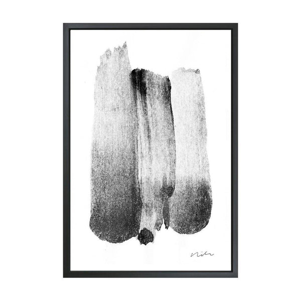 Stroke in Black & White 1 Framed Art Canvas-Canvas-Inhabit