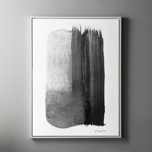 Stroke in Black & White 2 Framed Painted Canvas-Canvas-Inhabit