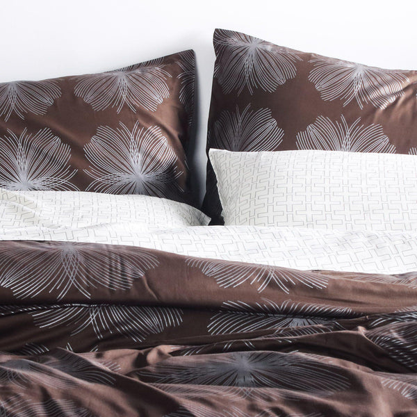 Bedding - Aequorea in Chocolate & Silver Duvet Cover + Sham Set - 1 - Inhabit