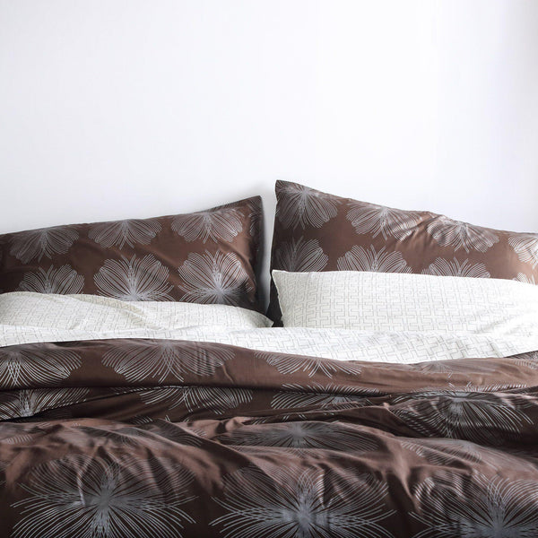 Bedding - Aequorea in Chocolate & Silver Duvet Cover + Sham Set - 2 - Inhabit