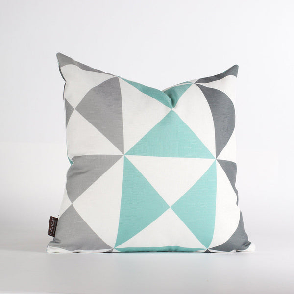 Handmade Pillows - Angle in Mineral & Aqua Throw Pillow - 1 - Inhabit