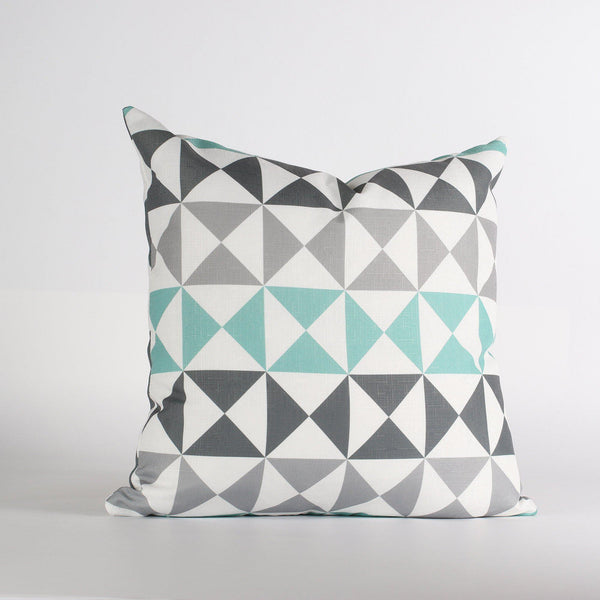 Handmade Pillows - Angle in Mineral & Aqua Throw Pillow - 2 - Inhabit