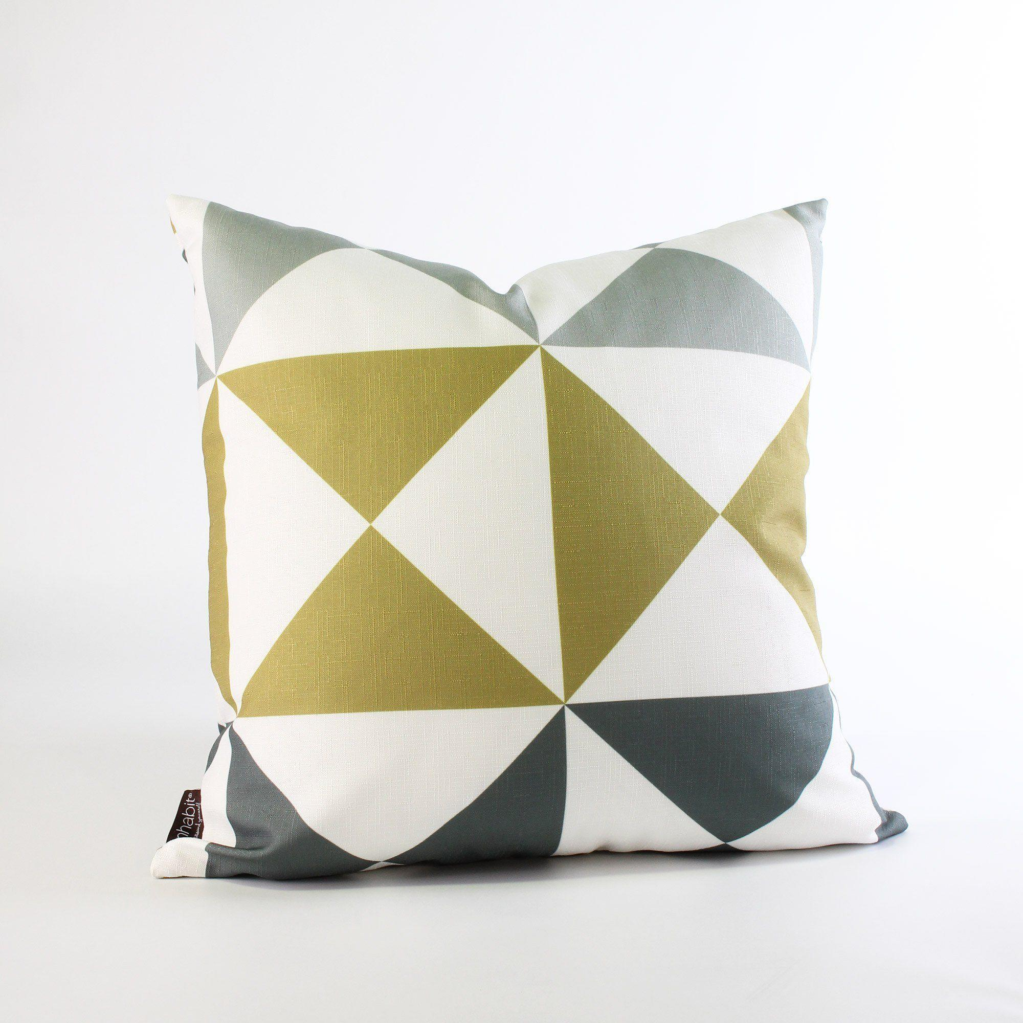 Angle In Mineral Mustard Throw Pillow Modern Graphic Pillows
