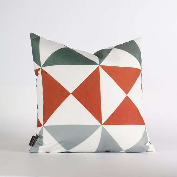 Handmade Pillows - Angle in Mineral & Rust Throw Pillow - 1 - Inhabit