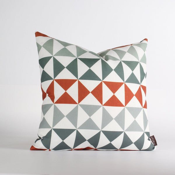 Handmade Pillows - Angle in Mineral & Rust Throw Pillow - 2 - Inhabit