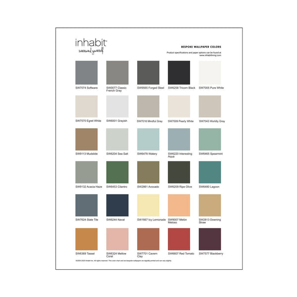 Wallpaper - Peel and Stick Wallpaper - Commercial Wallpaper - Bespoke Wallpaper Color Chart - 1 - Inhabit