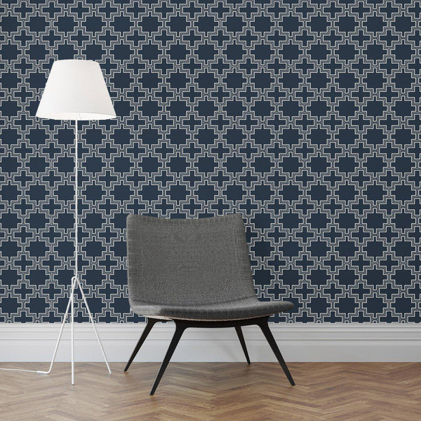 Wallpaper - Peel and Stick Wallpaper - Commercial Wallpaper - Blockline Bespoke Wallpaper - 1 - Inhabit