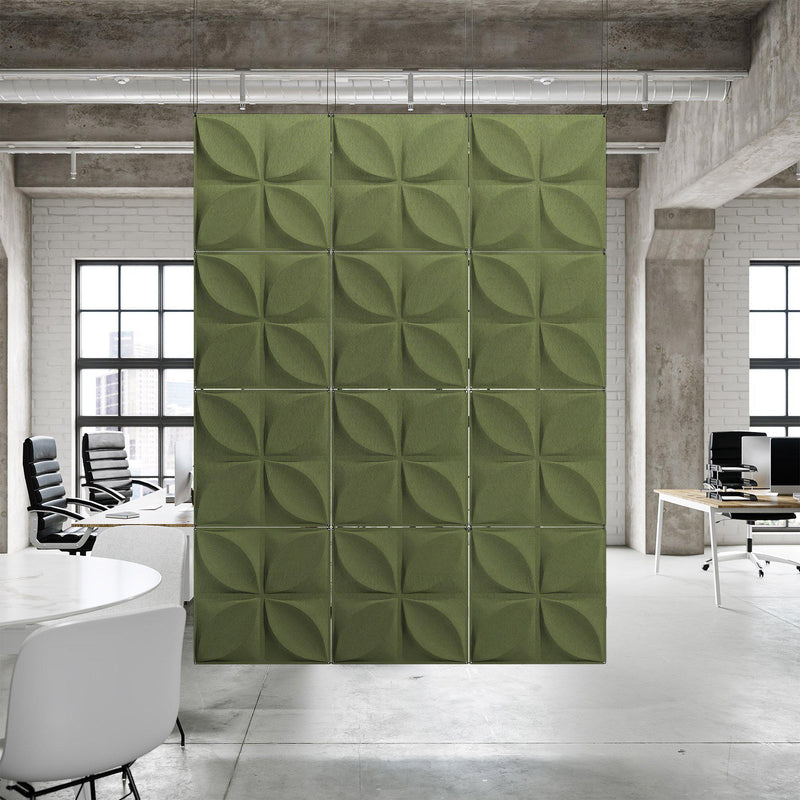 Acoustic Hanging Wall Panel | Room Divider - Chrysalis 3D PET Felt Hanging Wall Flat System - 11 - Inhabit