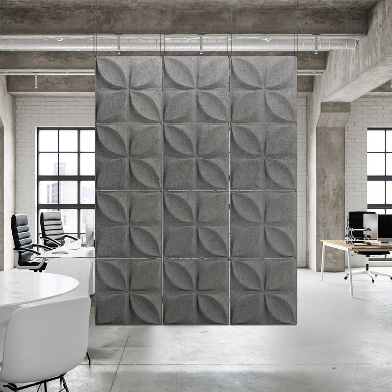Acoustic Hanging Wall Panel | Room Divider - Chrysalis 3D PET Felt Hanging Wall Flat System - 4 - Inhabit