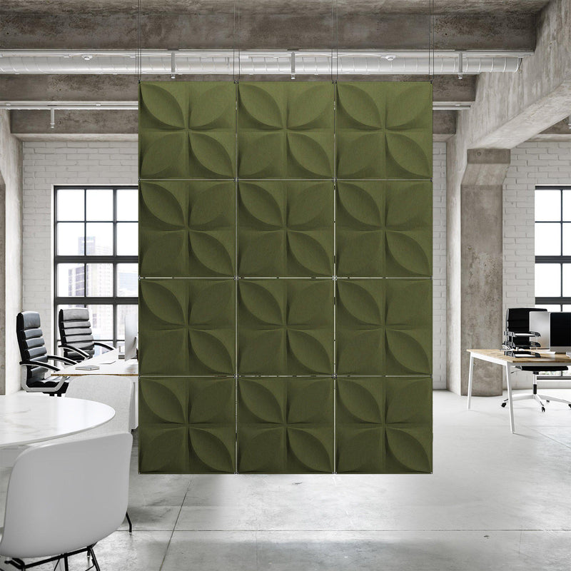 Acoustic Hanging Wall Panel | Room Divider - Chrysalis 3D PET Felt Hanging Wall Flat System - 7 - Inhabit