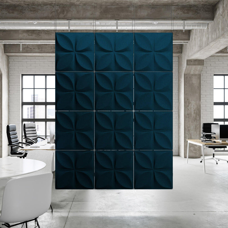 Acoustic Hanging Wall Panel | Room Divider - Chrysalis 3D PET Felt Hanging Wall Flat System - 10 - Inhabit