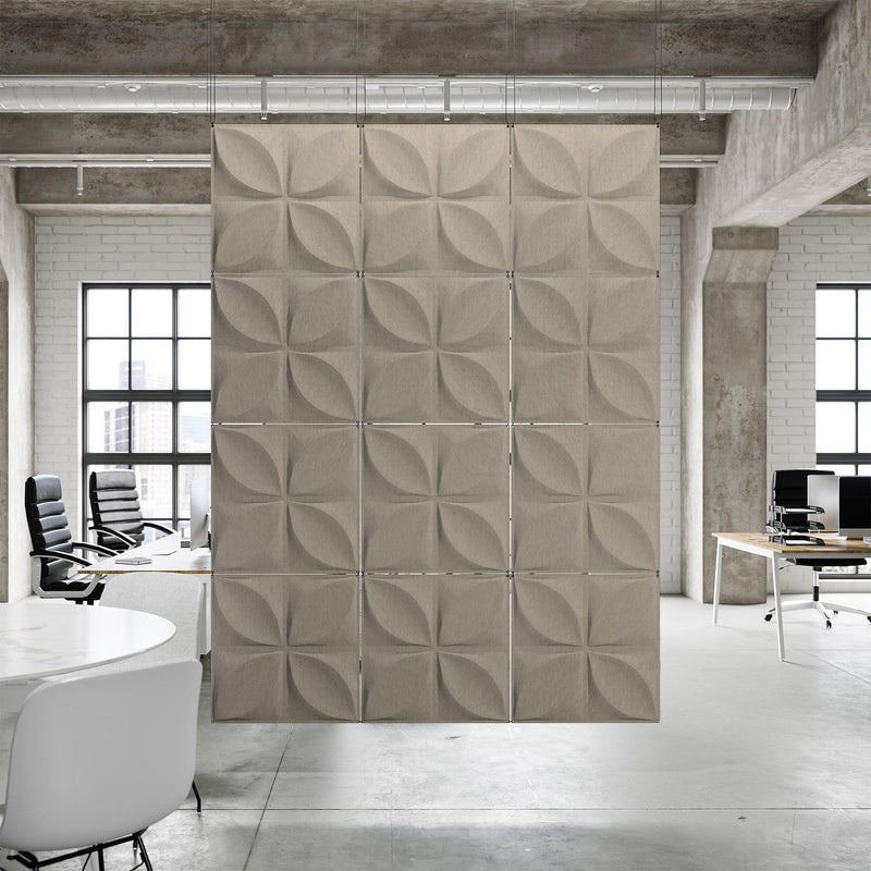 Acoustic Hanging Wall Panel | Room Divider - Chrysalis 3D PET Felt Hanging Wall Flat System - 9 - Inhabit