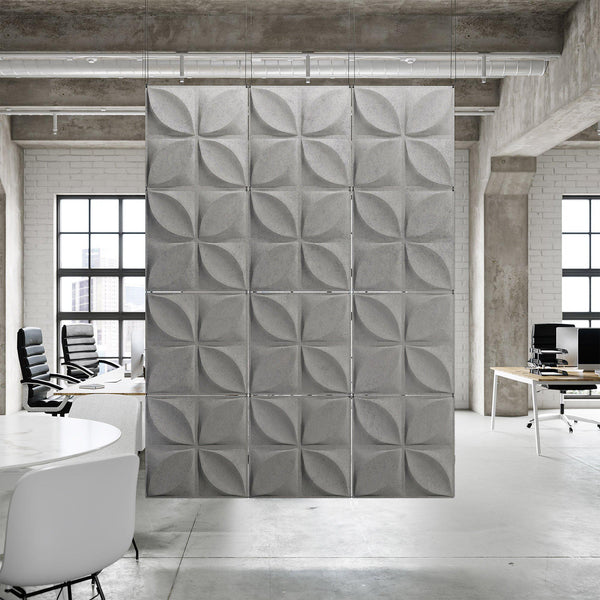 Acoustic Hanging Wall Panel | Room Divider - Chrysalis 3D PET Felt Hanging Wall Flat System - 2 - Inhabit