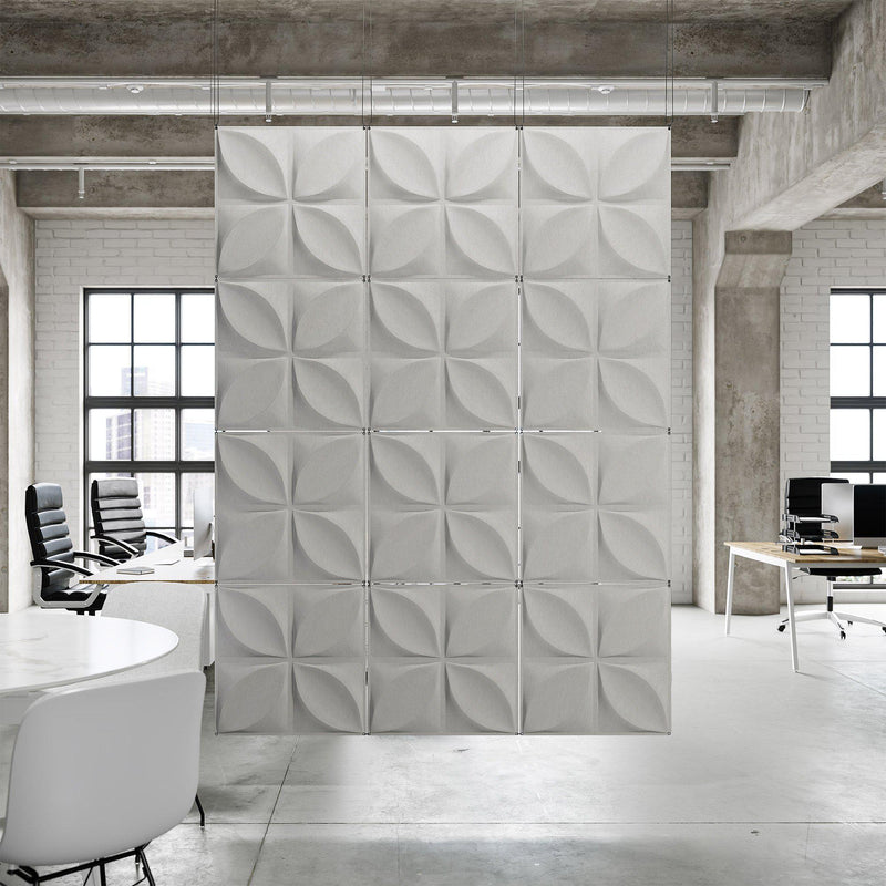 Acoustic Hanging Wall Panel | Room Divider - Chrysalis 3D PET Felt Hanging Wall Flat System - 13 - Inhabit
