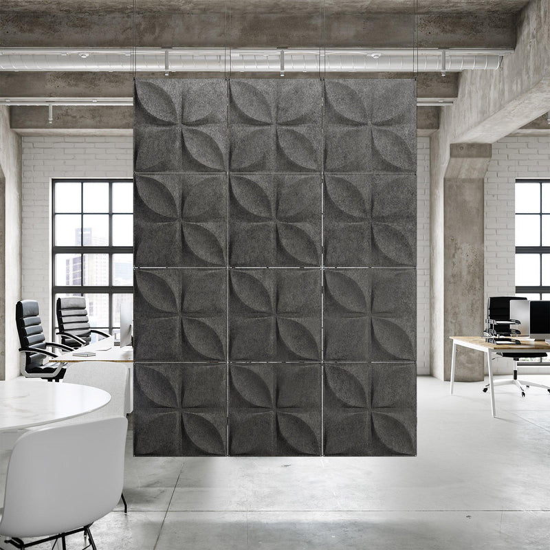 Acoustic Hanging Wall Panel | Room Divider - Chrysalis 3D PET Felt Hanging Wall Flat System - 5 - Inhabit