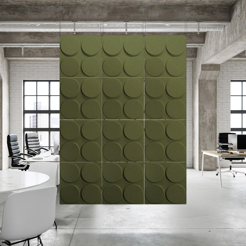 Acoustic Hanging Wall Panel | Room Divider - Cirque 3D PET Felt Hanging Wall Flat System - 6 - Inhabit