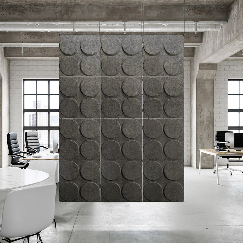 Acoustic Hanging Wall Panel | Room Divider - Cirque 3D PET Felt Hanging Wall Flat System - 4 - Inhabit