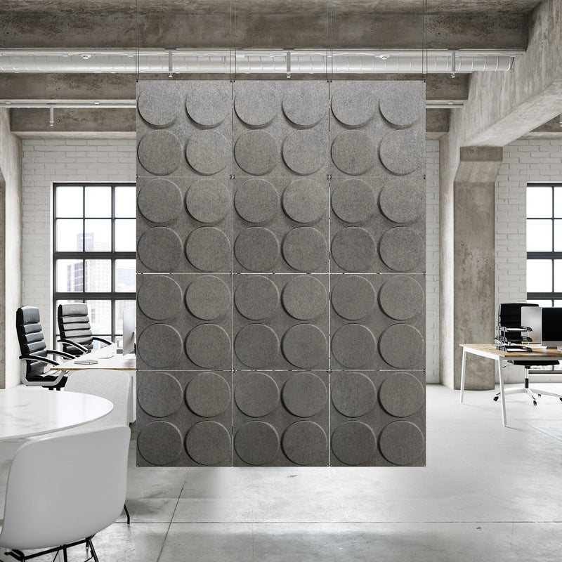 Acoustic Hanging Wall Panel | Room Divider - Cirque 3D PET Felt Hanging Wall Flat System - 3 - Inhabit