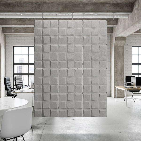 Acoustic Hanging Wall Panel | Room Divider - Cubit 3D PET Felt Hanging Wall Flat System - 1 - Inhabit
