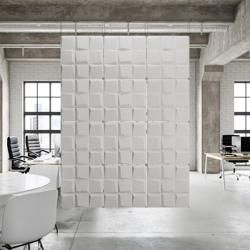 Acoustic Hanging Wall Panel | Room Divider - Cubit 3D PET Felt Hanging Wall Flat System - 12 - Inhabit