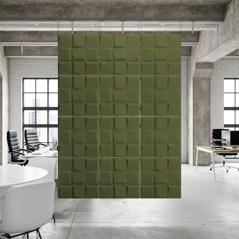 Acoustic Hanging Wall Panel | Room Divider - Cubit 3D PET Felt Hanging Wall Flat System - 6 - Inhabit