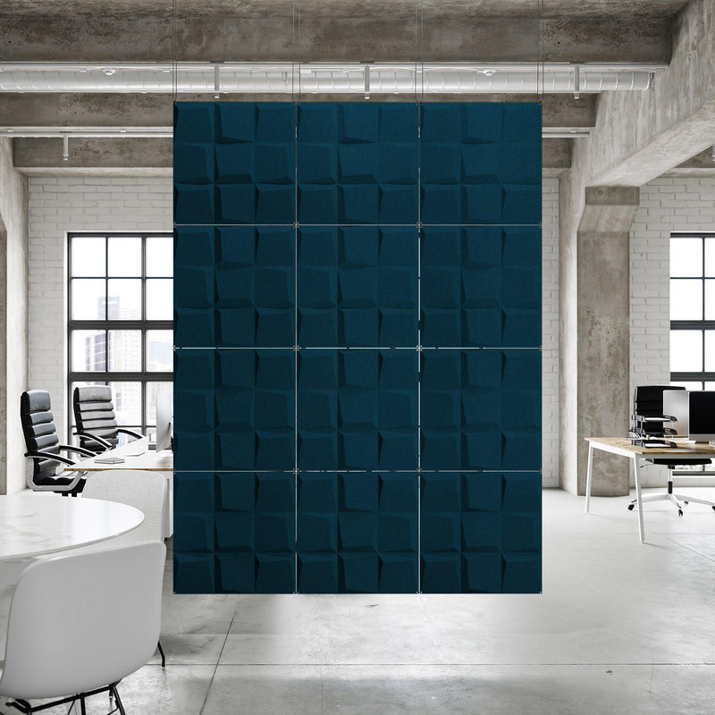 Acoustic Hanging Wall Panel | Room Divider - Cubit 3D PET Felt Hanging Wall Flat System - 9 - Inhabit