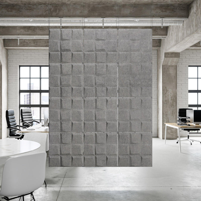 Acoustic Hanging Wall Panel | Room Divider - Cubit 3D PET Felt Hanging Wall Flat System - 3 - Inhabit