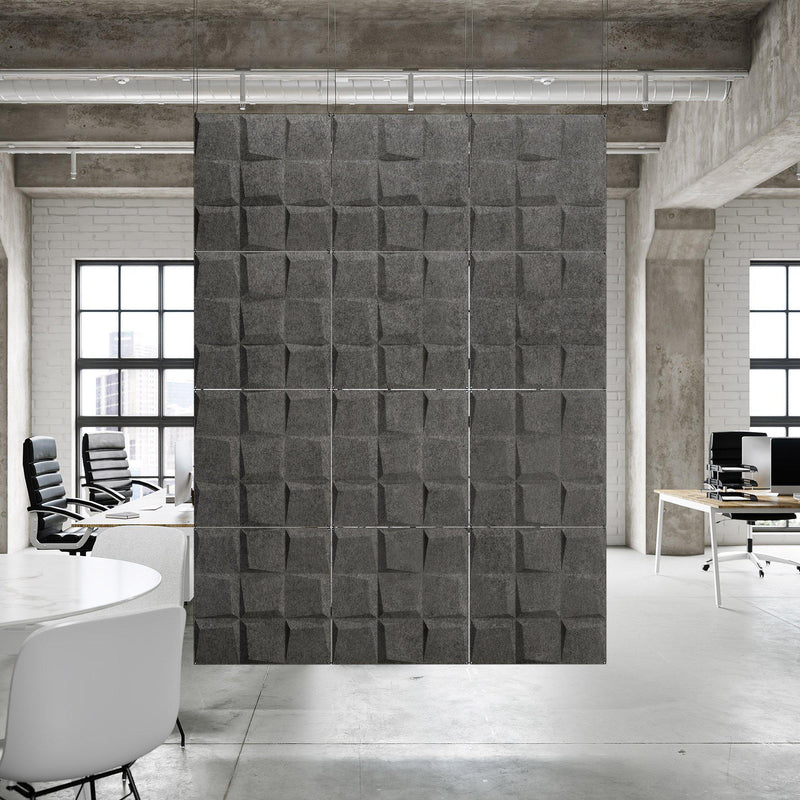Acoustic Hanging Wall Panel | Room Divider - Cubit 3D PET Felt Hanging Wall Flat System - 4 - Inhabit