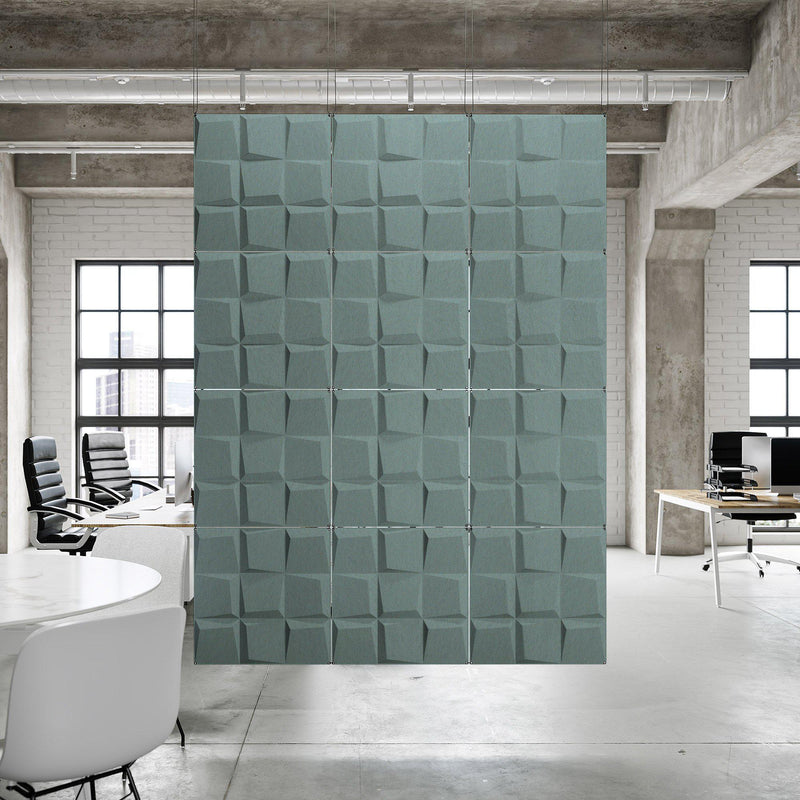 Acoustic Hanging Wall Panel | Room Divider - Cubit 3D PET Felt Hanging Wall Flat System - 7 - Inhabit