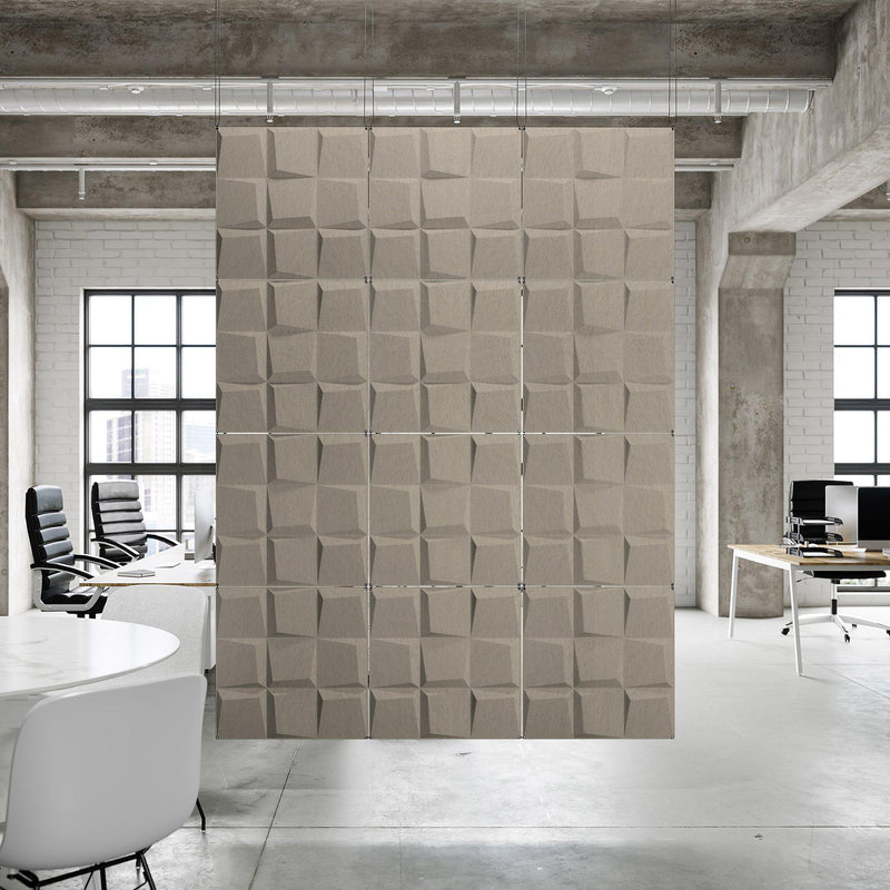 Acoustic Hanging Wall Panel | Room Divider - Cubit 3D PET Felt Hanging Wall Flat System - 8 - Inhabit