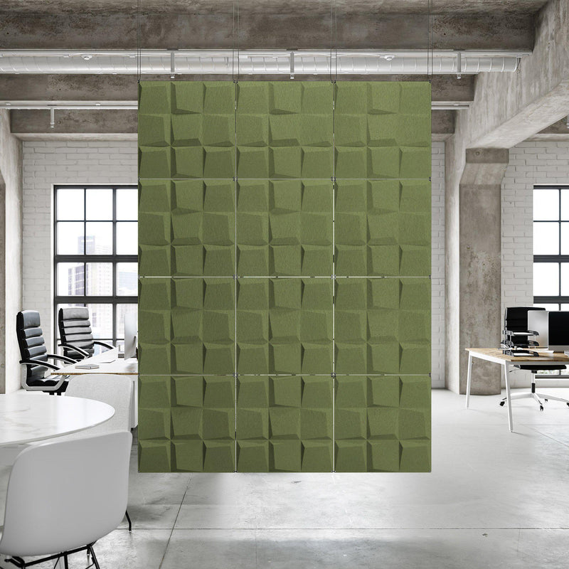 Acoustic Hanging Wall Panel | Room Divider - Cubit 3D PET Felt Hanging Wall Flat System - 10 - Inhabit
