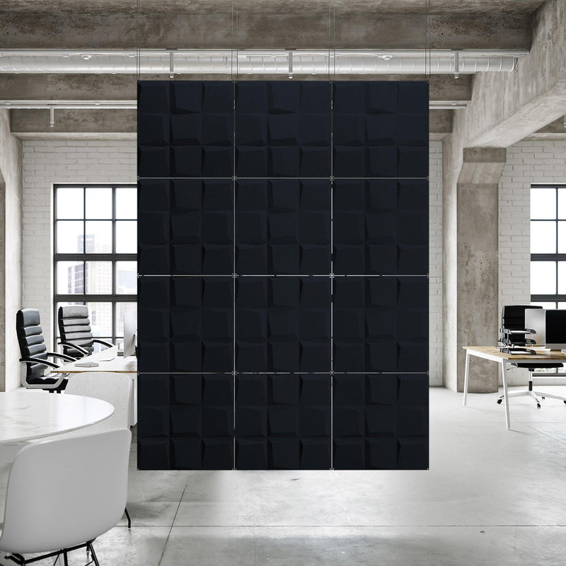 Acoustic Hanging Wall Panel | Room Divider - Cubit 3D PET Felt Hanging Wall Flat System - 11 - Inhabit