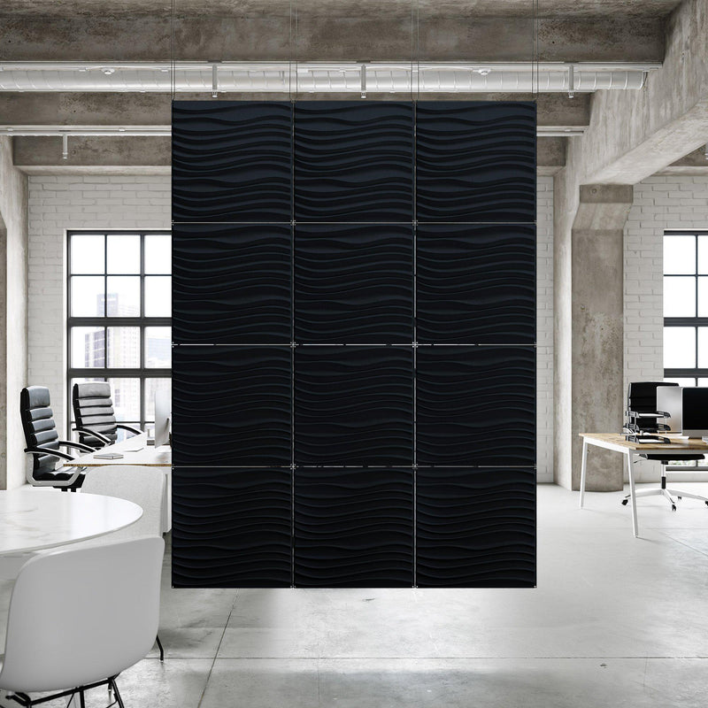 Acoustic Hanging Wall Panel | Room Divider - Current 3D PET Felt Hanging Wall Flat System - 12 - Inhabit