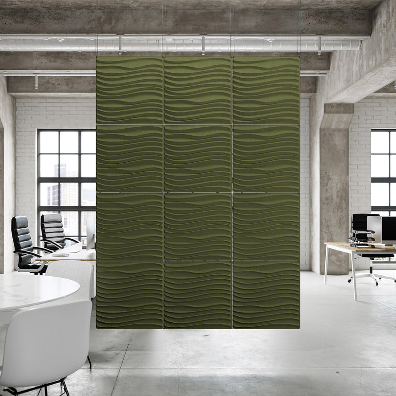 Acoustic Hanging Wall Panel | Room Divider - Current 3D PET Felt Hanging Wall Flat System - 7 - Inhabit